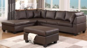 LEATHER SECTIONAL SOFA WITH OTTOMAN 699 ONLY