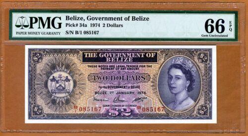 Belize, 2 Dollars, 1974, QEII, P-34a, PMG-66 EPQ, Gem UNC