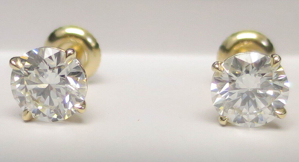 3 carat Round Diamond Studs 14k Yellow Gold Earrings w/ GIA report H color VS2