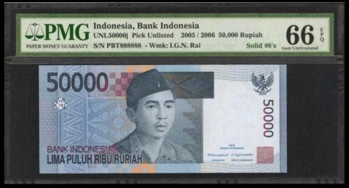 Indonesia 50,000 Rupiah 2005 PMG# 66 EPQ FANCY SOLID S/N 888888 (#1314)