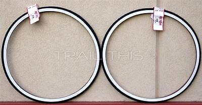 """2-Pack Kenda K34 WHITE Wall 27 x 1-1/4"""" Road Bike Tires Wire Bead Fixie Classic"""