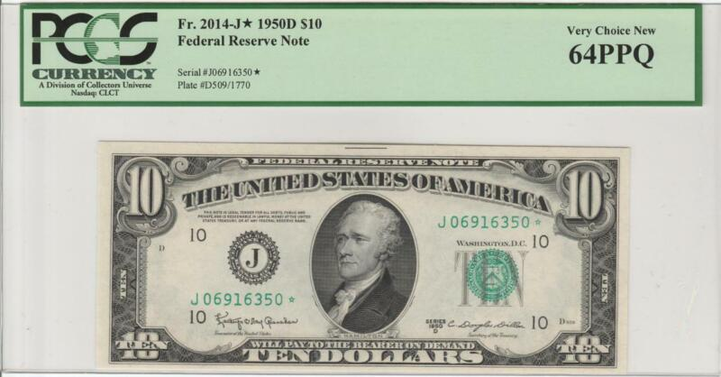 "Fr.2014-J* 1950D $10 KANSAS CITY ""STAR"" FRN  PCGS 64PPQ CHOICE NEW UNCIRCULATED"