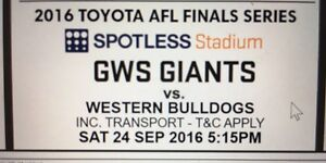 Gws greater western Sydney vs western Bulldogs final tickets x 2 Glenorie The Hills District Preview