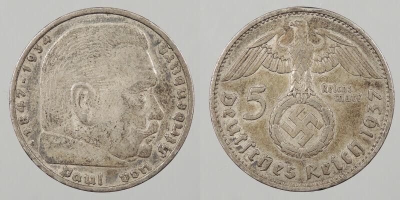 GERMANY: 1937-A 5 Mark Hindenburg. #WC83481