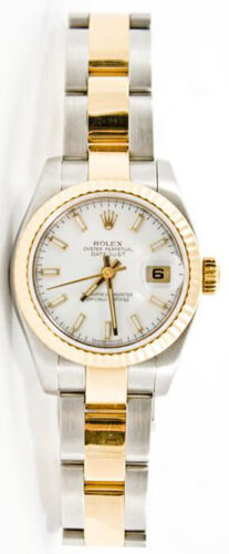 Rolex Datejust 179173 Steel & Gold Oyster Band White Index Dial Fluted Bezel