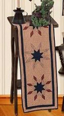 Quilted Lone Star Tea Dye Quilt Table Runner 16 X 48 Home Decor
