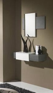 Mobile ingresso con specchiera grigio bianco for Mobile ingresso