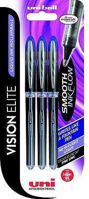 Uni-Ball VISION ELITE UB-200 Liquid Ink Roller Ball Pens. Pack of 3 Blue