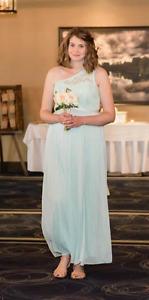 David's Bridal Mint One-Shoulder Lace Bridesmaid Dress