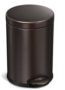 simplehuman Mini Round Step Trash Can, Dark Bronze Stainless Ste