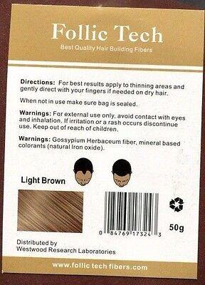 Vegan Follic Tech Hair Building Fibers Refill Light Brown 50g BEST QUALITY