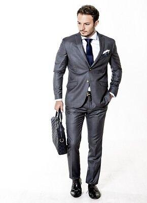 Mens designer  slim fit suit in Dark Grey by Alexander Caine Wholesale Price