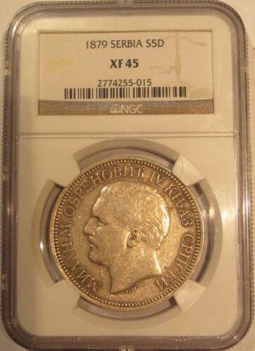 5 Dinara Silver Serbia Yugoslavia 1879 NGC XF-45 POP=1/6! KM# 12 Very Rare!