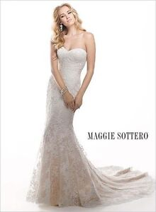 Maggie Sottero Lace Wedding Gown (Size 6)