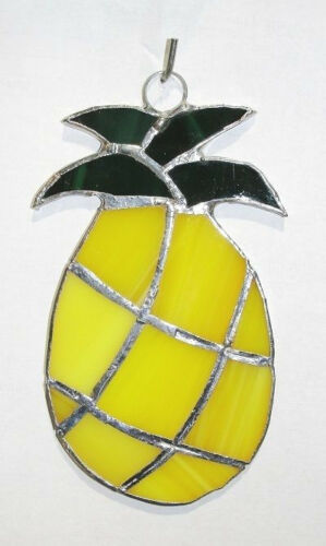 Lot of 6 (six)  Stained Glass  PINEAPPLES !  - HANDMADE Suncatcher    Ornament !