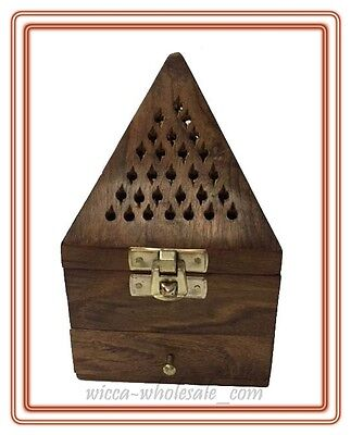 Wooden Pyramid Cone, sage Resin Charcoal Burner with Storage Net Carving
