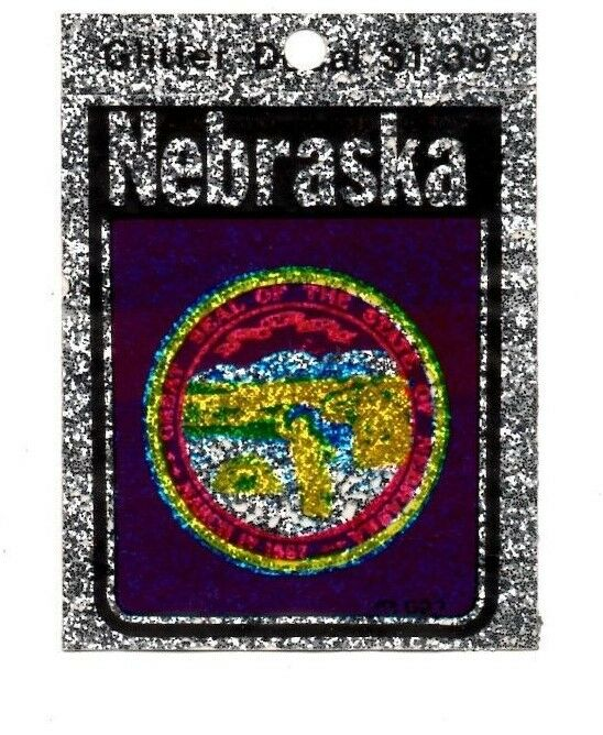 Lot of 12 Nebraska Glitter Decals Stickers - NOS - Free Shipping!