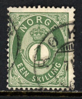 NORWAY SCOTT 16 1875 POST HORN & CROWN REGULAR ISSUE USED F CAT $25!