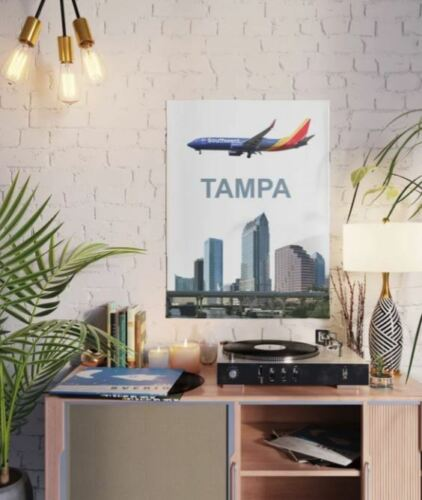 """Southwest Airlines 737 Over Tampa - 18"""" x 24"""" Poster"""