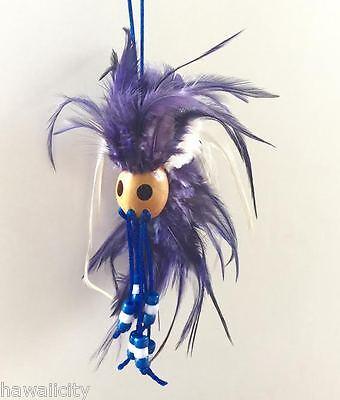 Hawaiian PURPLE Feathers and BLUE BEADS Ikaika Warrior Helmet from Hawaii