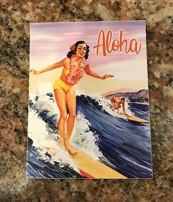 Apartment Home Decor Aloha Surfing Sticker - Surfer Girl Waves Hawaii Islands Tropical Vintage Look Home Decoration Colors