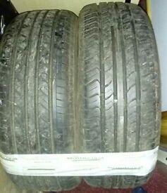 pair of part worn tyres
