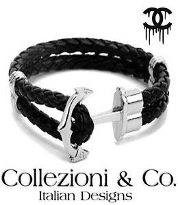 Black Italian Leather Braid Rope 7.5