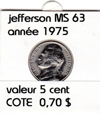 e3 )pieces de 5 cent  1975   jefferson