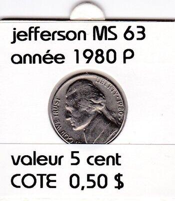 e2 )pieces de 5 cent  1980 P  jefferson