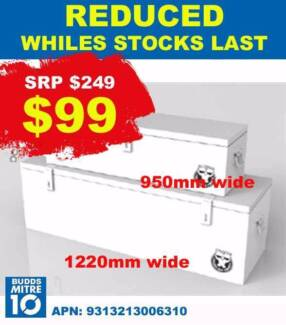 Toolbox White Pack of 2 - 1200MM WIDE and 950MM WIDE only $99