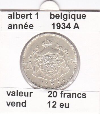 BF 1 )pieces de 20  francs  albert 1  1934 A  belgique
