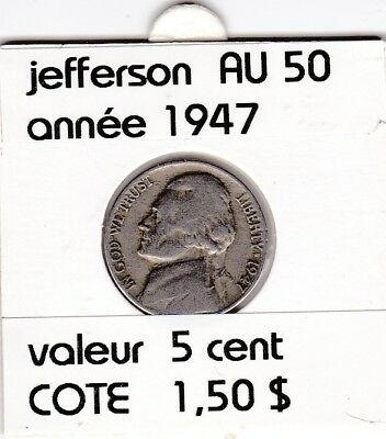 e2 )pieces de 5 cent  1947        jefferson