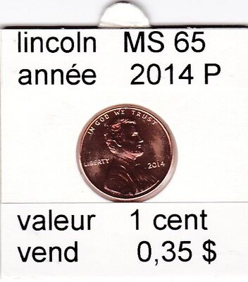 e2 )pieces de 1 cent  2014  P  lincoln
