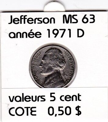 e2 )pieces de 5 cent  1971 D     jefferson