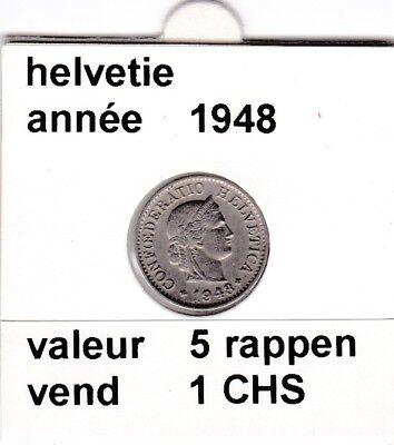 S 1) pieces suisse de 5  rappen de 1948   voir description