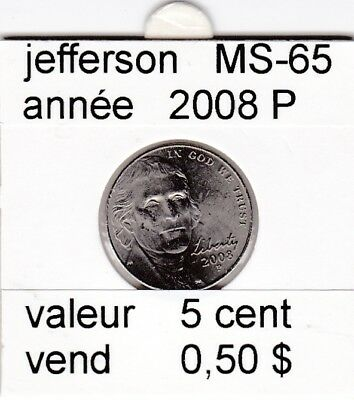 e3 )pieces de 5 cent 2008 P  jefferson