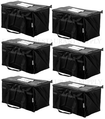 Black Insulated Food Pan Carriers (6 PACK Insulated BLACK Catering Delivery Chafing Dish Food Full Pan Carrier)