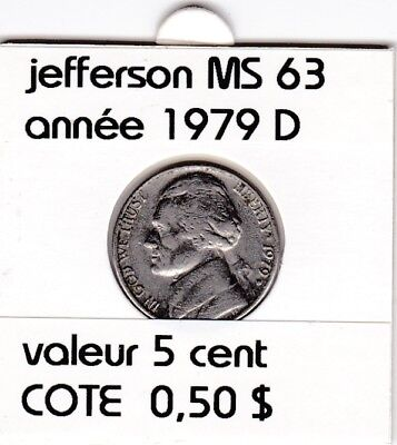 e2 )pieces de 5 cent  1979 D  jefferson
