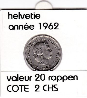 S 1) pieces suisse de 20 rappen de 1962  &