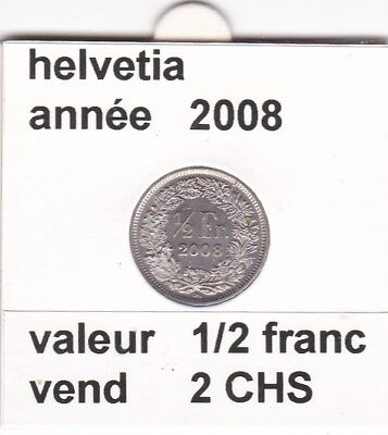 S 2 ) pieces suisse de 1/2  franc de 2008  voir description