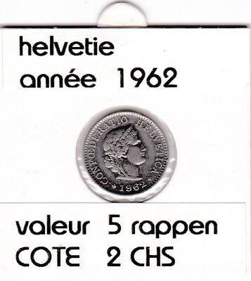 S 1) pieces suisse de 5  rappen de 1962   voir description