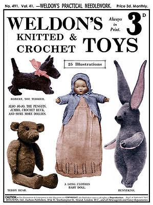 Weldon's 2d 491 C.1925 Vintage Patterns For Knitting & Crochet Toys & Dolls