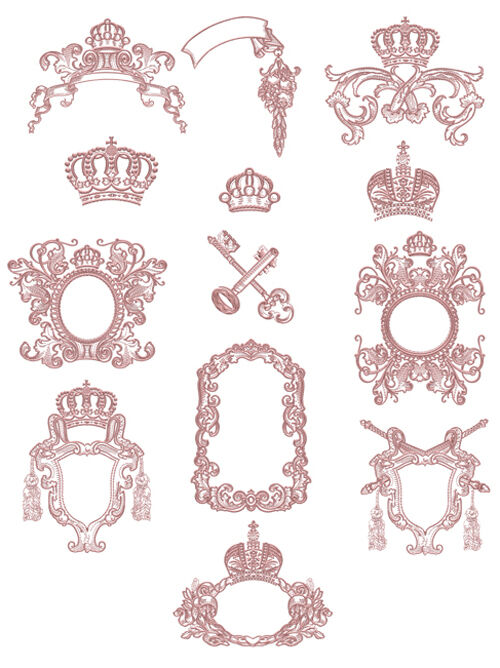 "ABC Designs Medieval Frames Machine Embroidery Designs SET 5""x7"" hoop"