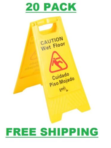 "20 PACK Restaurant Caution Wet Floor Yellow 25"" Folding Sign Commercial Safety"
