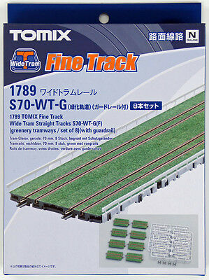 Tomix 1789 Wide Tram Straight Track S70-WT-G(F) (8 Pcs.) w/Guardrail (N scale)
