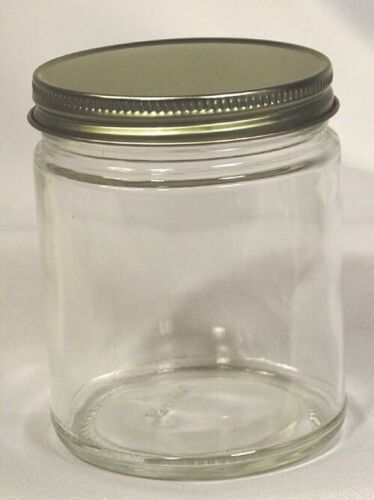 Straight Sided Jars  Round Glass Clear Jars 9oz  12 ct RP-24Aby RICHA BRAND NEW