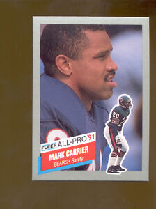 1991-Fleer-MARK-CARRIER-Chicago-Bears-All-Pro-Insert-Card-Mint