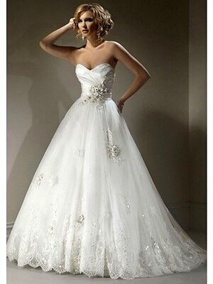 Sheer Lace Applique Wedding Dresses Bridal Gowns Custom Size 2 4 6 ...