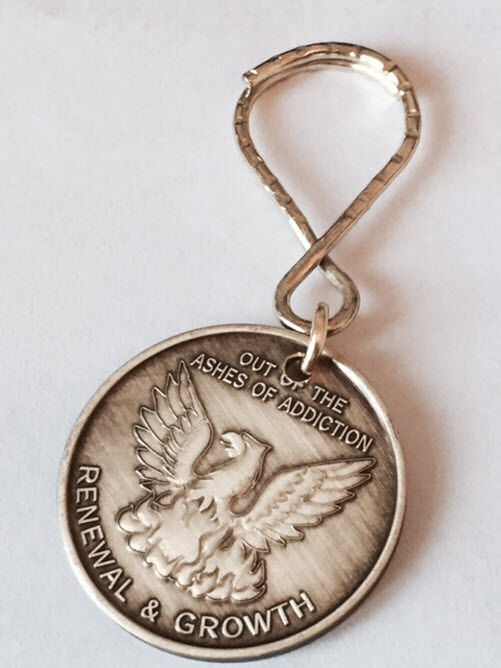Our Of The Ashes Renewal Growth Serenity Prayer Key Chain AA Medallion Chip Tag
