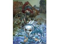 Nautilus Angel seashell Jasmine Becket-Griffith CANVAS PRINT big eyed fairy art